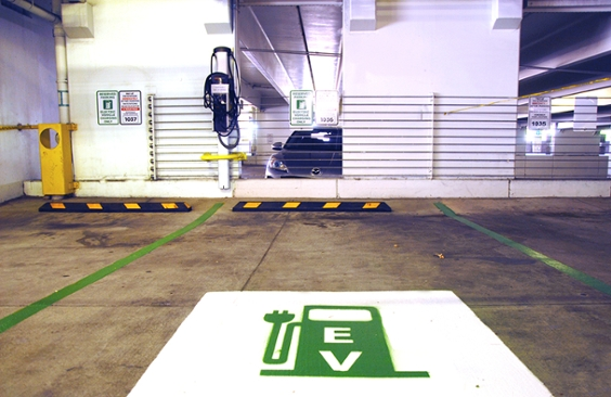 Yale charging station with EV stencil