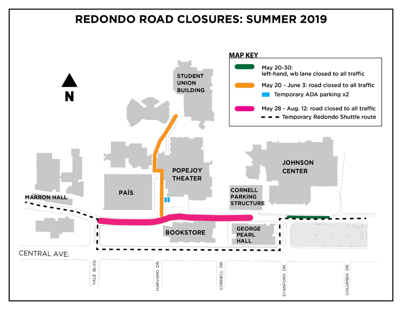 Map of summer 2019 redondo road closures