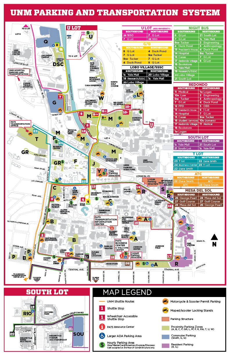 Unm Parking Map Parking & Transportation Systems Map :: Parking & Transportation  Unm Parking Map
