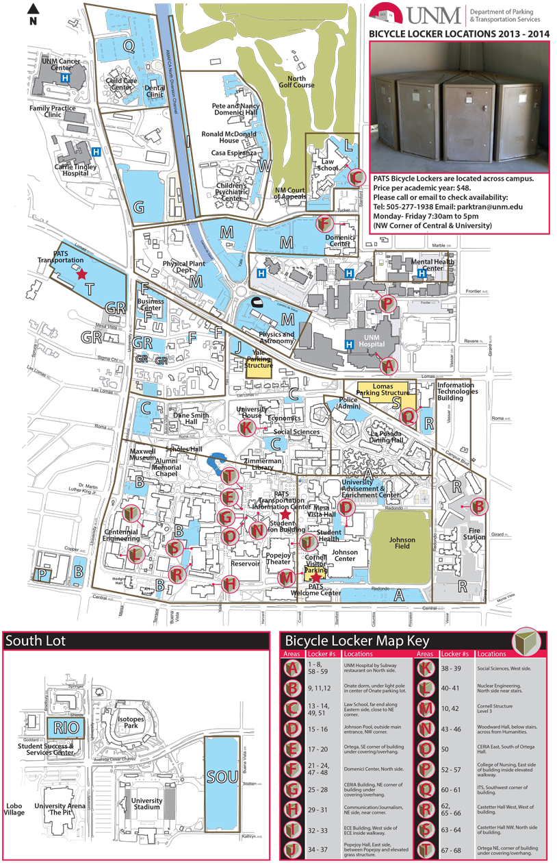 bicycle locker locations  parking  transportation services  - map of unm campus showing where each bicycle locker is located